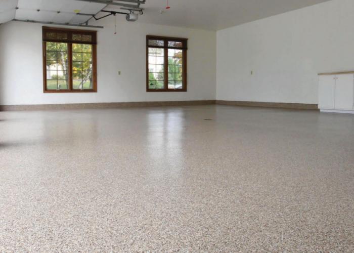 Bean Flake Epoxy Garage Floor